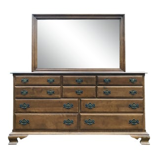 Ethan Allen Heirloom Maple Dresser & Mirror For Sale