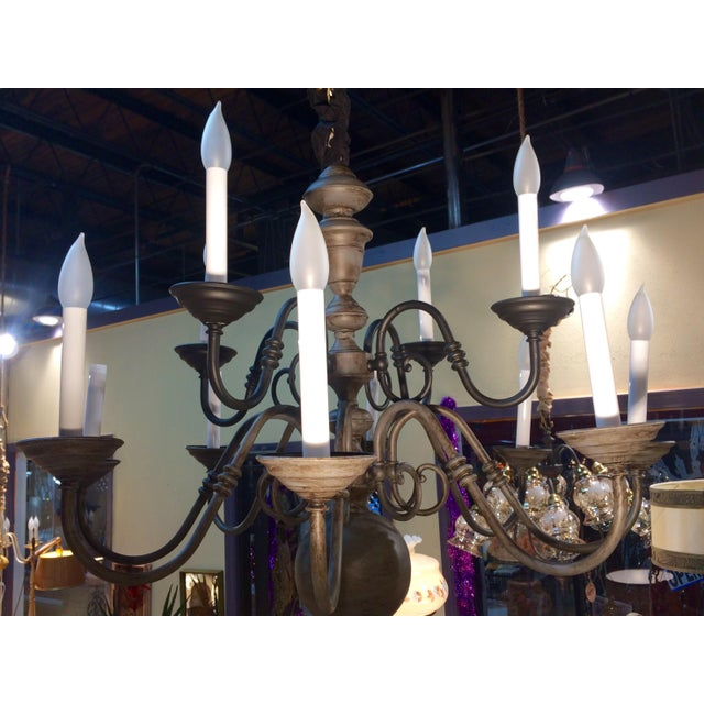 Gold Traditional Eleven Light Brass Chandelier For Sale - Image 8 of 9