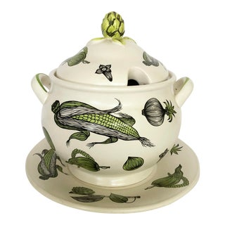 Vintage Graphic Vegetable Pattern Tureen For Sale