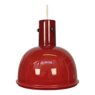 Red Opaque Milk Glass Pendant Lamp by Glashutte Limburg for Lightolier For Sale