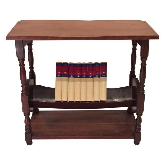 Vintage Walnut Bookshelf Side Table - Image 1 of 8