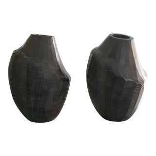 Black Abstract Hand-Carved Resin Bud Vases - a Pair