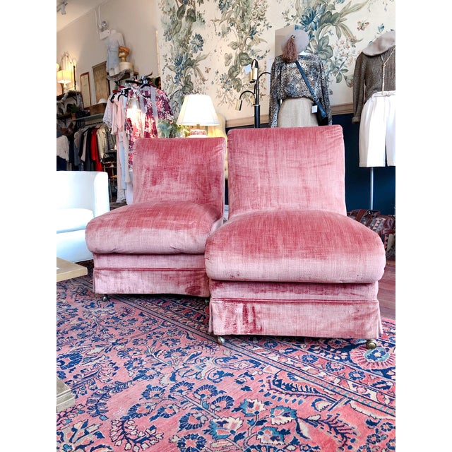 Curvilinear Pink Slipper Chairs- Pair For Sale - Image 12 of 13