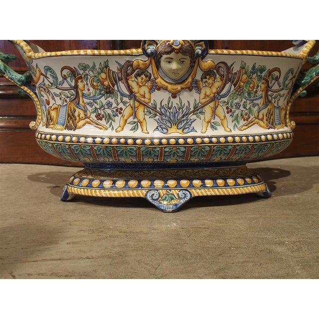 19th Century French Faience Jardiniere, Antoine Montagnon, Nevers For Sale - Image 12 of 13