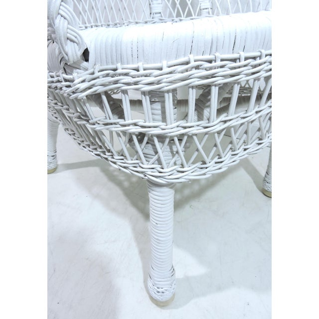 Vintage White Wicker and Cane High Back Conservatory Armchairs - a Pair For Sale In Tampa - Image 6 of 7
