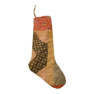 Handmade Christmas Stocking Sewn With Vintage Textiles For Sale