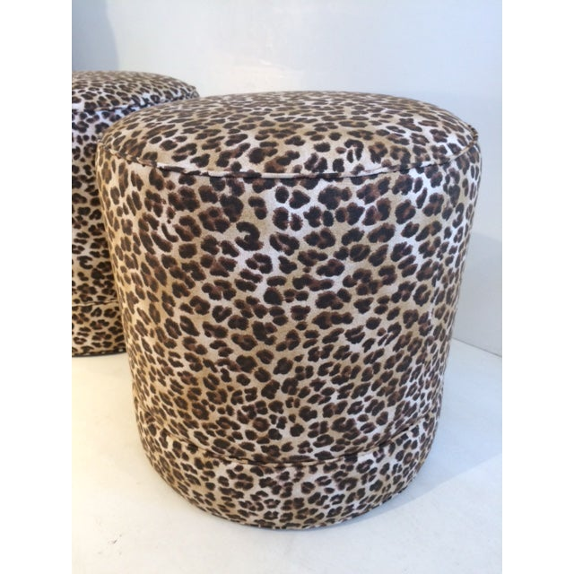 Todd Hase Namesake Leopard Print Ruth Drum Ottomans- A Pair For Sale - Image 10 of 13