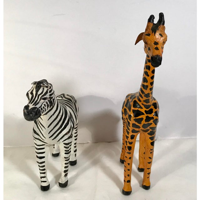 582e08cb9c Mid-Century Modern Vintage Paper Mache Giraffe and Zebra Figurines - a Pair  For Sale