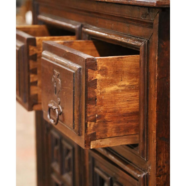 17th Century Spanish Catalan Carved Walnut Two-Door Buffet Cabinet For Sale - Image 9 of 13