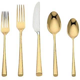 Gold Imperial Caviar by Lenox Stainless Steel Flatware Set Service New 20 Pieces For Sale