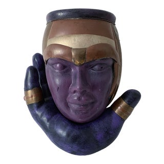 1980s Vintage Purple and Brass Head in Hand Sculptural Planter For Sale