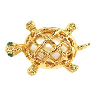 Couture Turtle Brooch by Kenneth Jay Lane For Sale