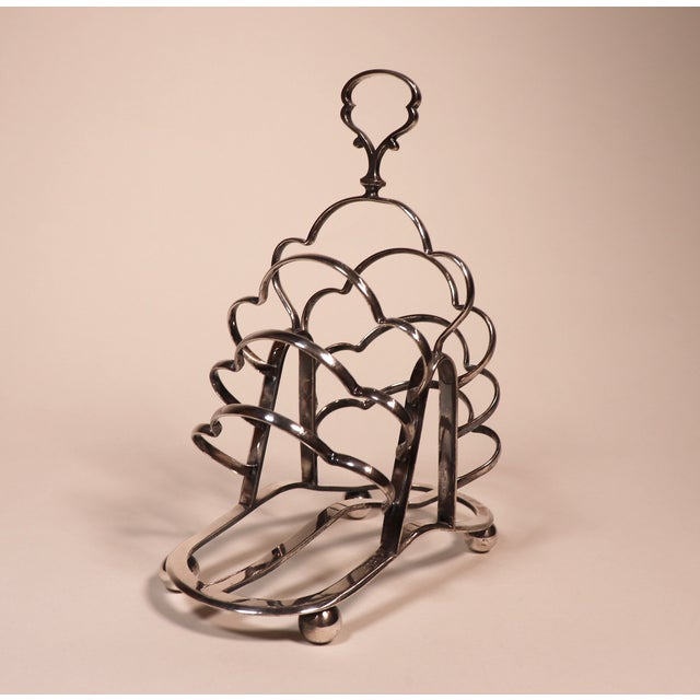 1950's English Silver Plated Toast Rack For Sale - Image 4 of 13