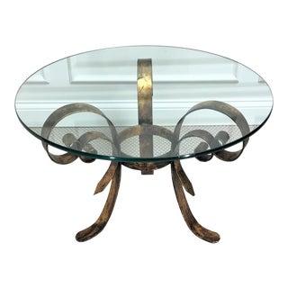 1960s Regency Gilt Metal & Glass Coffee Table For Sale
