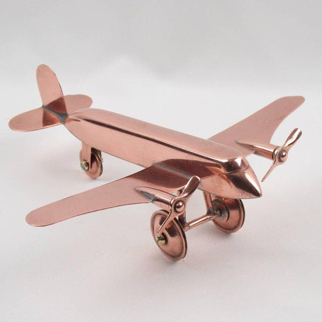Mid-Century Modern Copper Airplane Model - Image 2 of 11