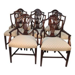 Shield Back Dining Chairs by H. Sacks and Sones - Set of 8 For Sale