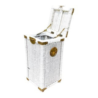 Tall White Chinoiserie Campaign Wicker Hamper Basket With Brass Fittings For Sale