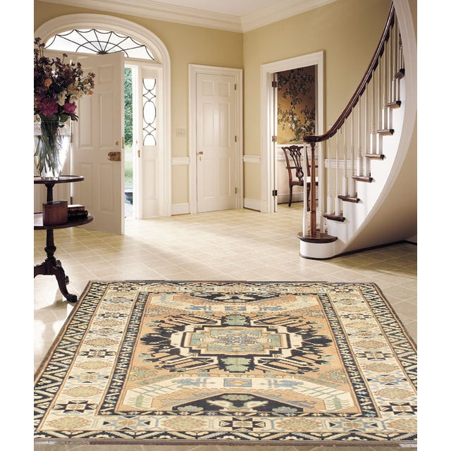Kazak Design rug. Hand knotted 100% hand-spun lamb's wool rug with all natural dyes. From India.