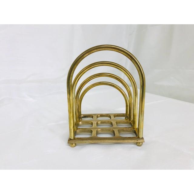1960s Art Deco Brass File/Letter Holder Desk Accessory For Sale - Image 4 of 8