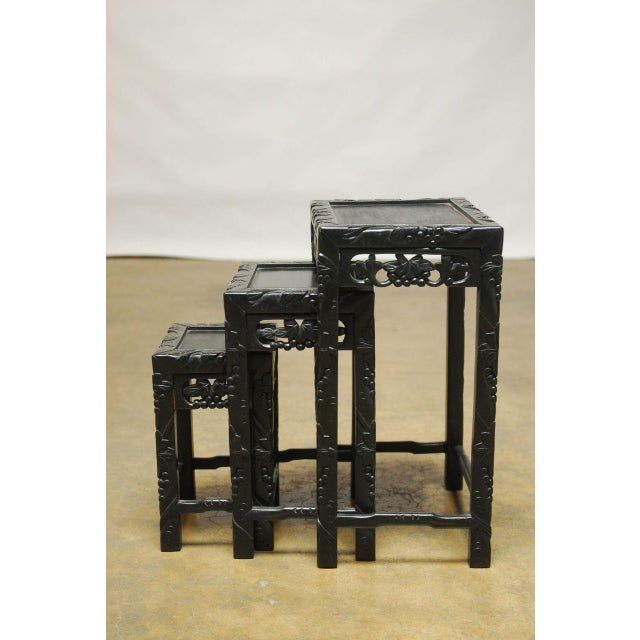 Asian Chinese Ebonized Nesting Tables - Set of 3 For Sale - Image 3 of 4