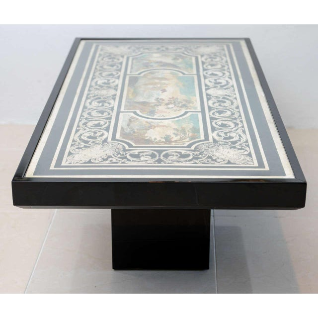 Figurative Fine Italian Scagliola 18th Century Table Top Mounted in a Low Table For Sale - Image 3 of 11