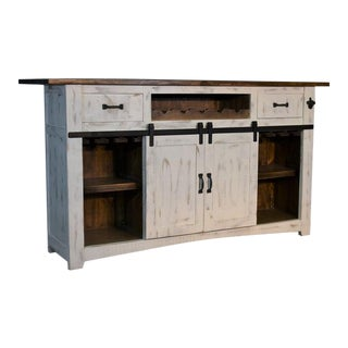"Crafters and Weavers Greenview Bar Counter - Distressed White - 76"" For Sale"