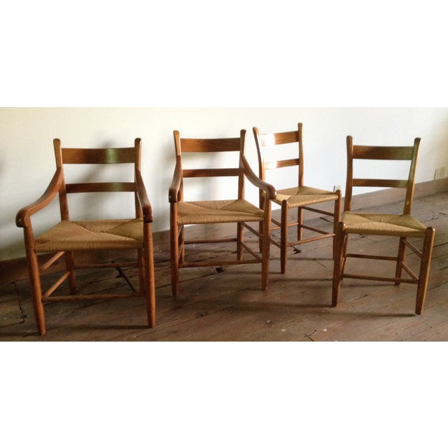 American Dining Chairs With Rush Seats - Set of 4 - Image 2 of 4