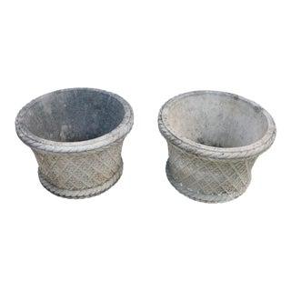 Vintage Mid Century English Cast Stone Planters- A Pair For Sale