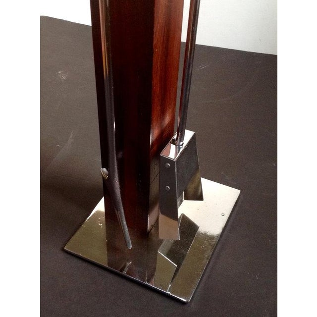 Mid-Century Modern Alessandro Albrizzi Rosewood & Chrome Fireplace Tools For Sale - Image 3 of 4