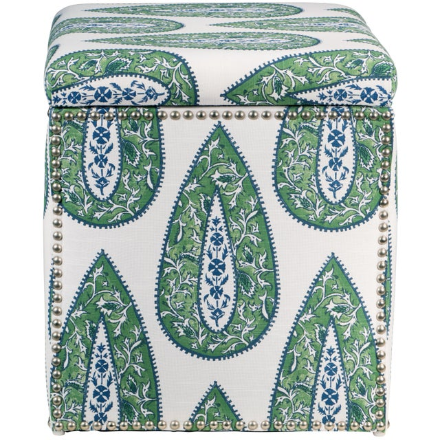 Bindi Kelly Cotton Storage Ottoman For Sale - Image 4 of 7