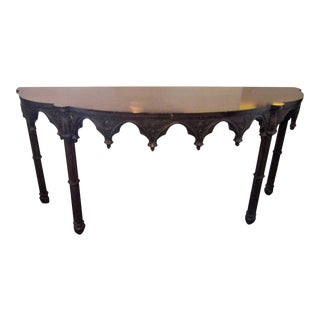 Traditional Carved Wood Demilune Console Table For Sale
