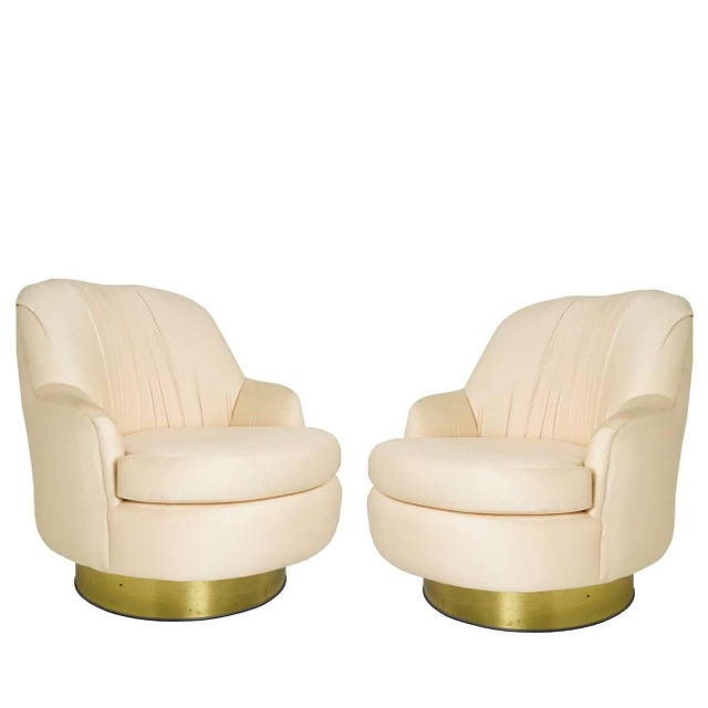 Peach Pair of Vintage Peach Milo Baughman Swivel Chairs With Brass Plinths For Sale - Image 8 of 8