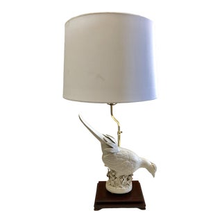 French White Porcelian Bird Lamp For Sale