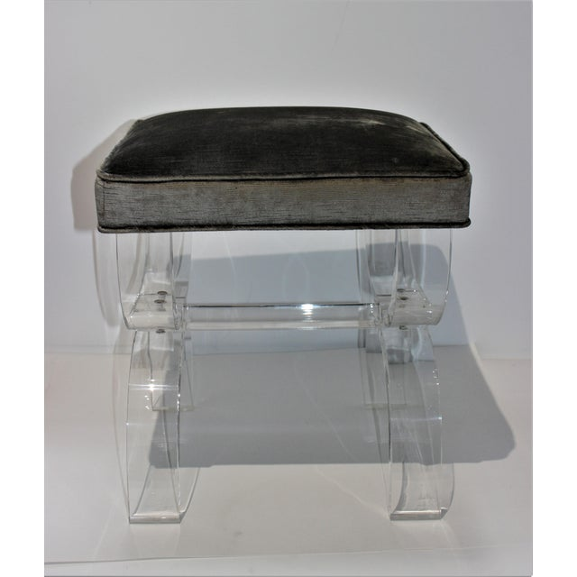 Hollis Jones Style Benches Lucite and Crushed Velvet 1970s - a Pair For Sale In West Palm - Image 6 of 11