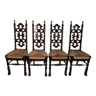 Mid-20th Century Gothic Caned Scroll Back Chairs - Set of 4
