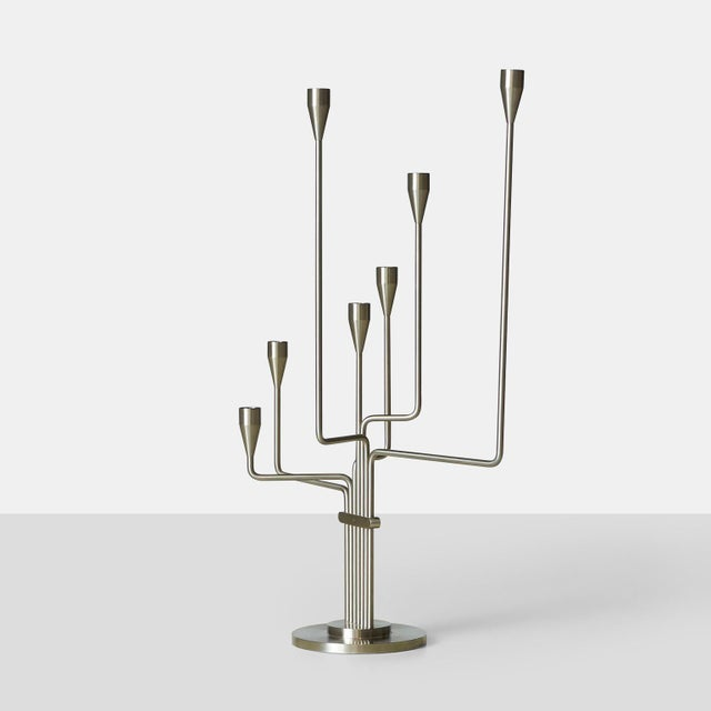 "A Piet Hein candelabra in brushed steel. Known as either ""Big Dipper"" or ""The Great Bear"", it was designed by Hein during..."