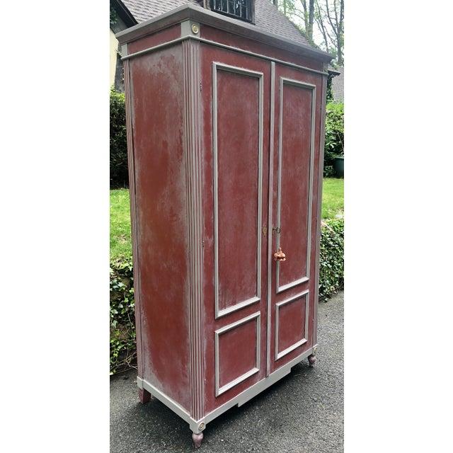 Gustavian (Swedish) British Red Ballard Casa Florentina Armoire For Sale - Image 3 of 9