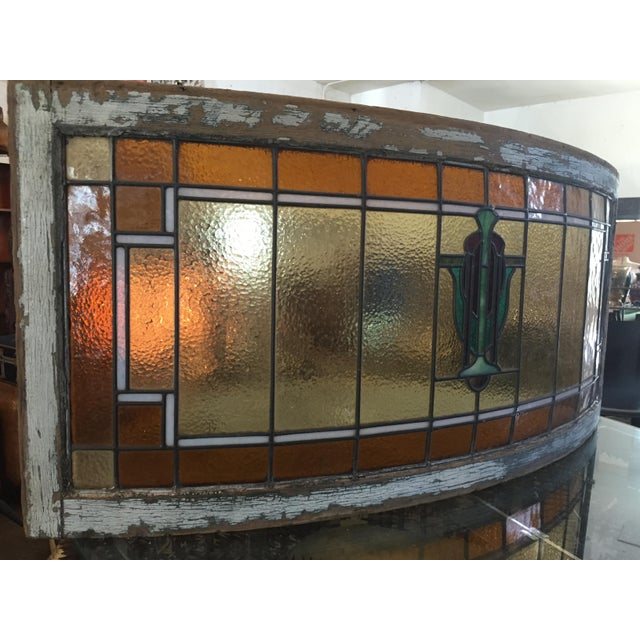 Antique Mission Design Curved Stained Glass Window For Sale - Image 4 of 11