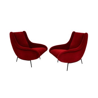 Italian Style Sculptural Armchairs in Plush Red Velvet - a Pair For Sale