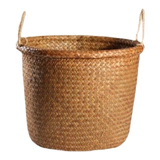 Handmade Round Straw Storage Basket With Handles (Large) For Sale