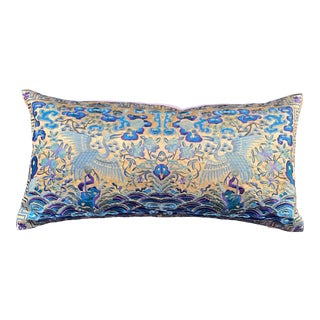 Hollywood Regency Chartreuse & Turquoise Silk Embroidered Cranes Chinoiserie Boudoir Lumbar Pillow For Sale