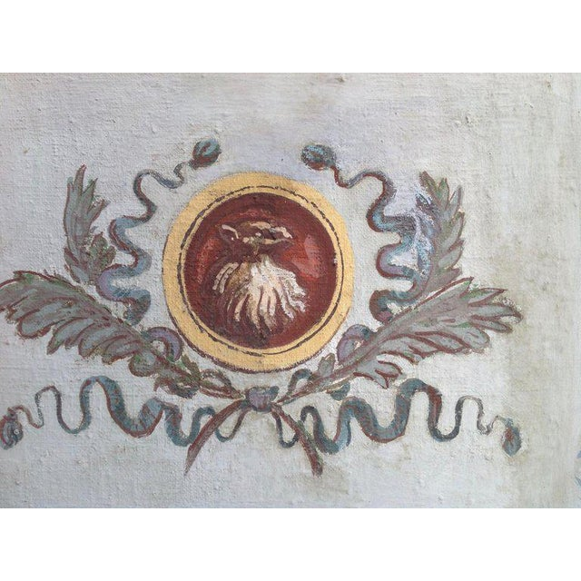 Pair of Antique Painted Canvas Window Panels For Sale - Image 11 of 13
