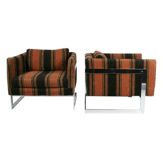 Milo Baughman for Thayer Coggin Floating Cube Club Chairs - a Pair For Sale