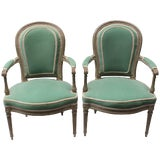 Image of Pair of 18th Century Louis XVI Fauteuils Attributed to Georges Jacob For Sale