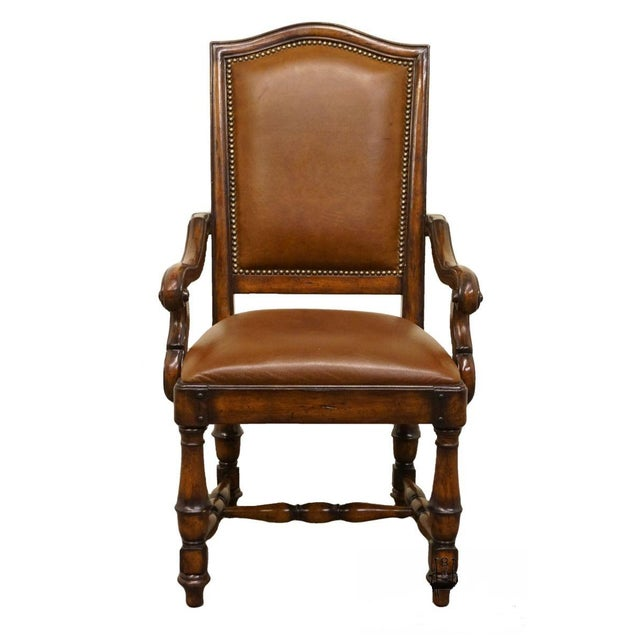 Hooker Furniture Wynterhall Collection Leather Dining Arm Chair W. Nail Head Trim For Sale - Image 10 of 10