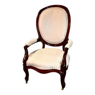 Vintage Victorian Style Rounded Back Parlor Chair For Sale