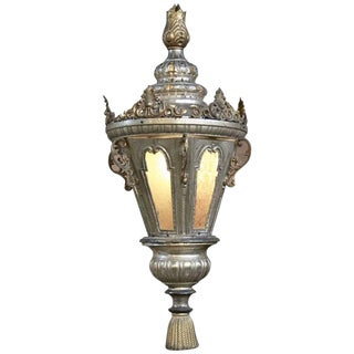19th Century Venetian Silvered Brass Lantern Chandelier For Sale