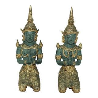 Asian Gilt Bronze Pair of Teppanom kneeling Thai Sacred Angels For Sale