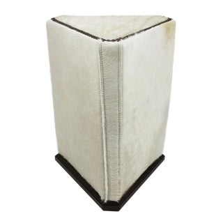 Lee Industries McAlpine Home White Hair on Hide Triangle Ottoman For Sale