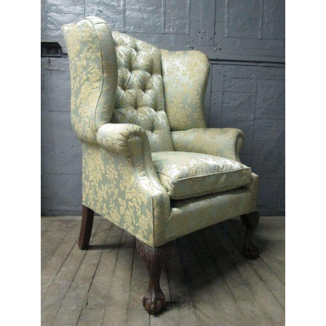 Chippendale Pair of Chippendale Style Tufted Wingback Chairs For Sale - Image 3 of 8